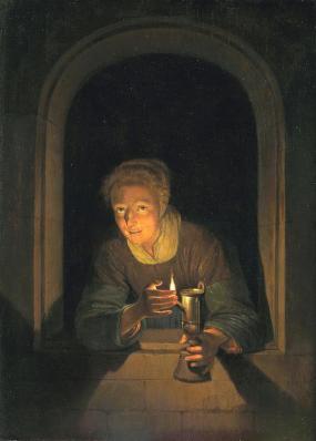 Gérard Dou. Jeune fille à la lampe (1660-70)