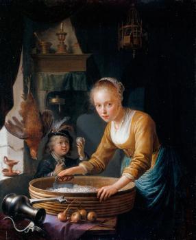 Gérard Dou. Jeune fille hachant des oignons (1646)