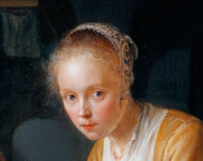 Gérard Dou. Jeune fille hachant des oignons, détail