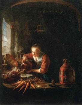 Gérard Dou. Femme versant de l'eau dans un récipient (1640-50)
