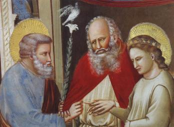 Giotto. Scènes de la vie de la Vierge, détail, mariage (1304-06)