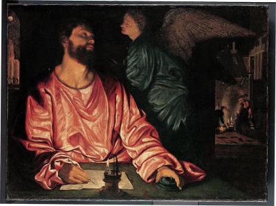 Giovanni Girolamo Savoldo. Saint Matthieu et les anges (v. 1534)