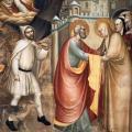 Giovanni da Milano. Rencontre de Joachim et Anne à la Porte dorée (1365)