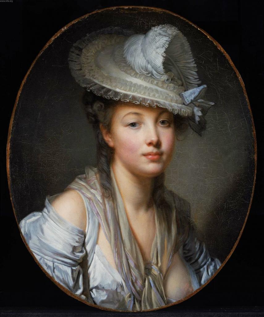 Jean-Baptiste Greuze. Le Chapeau blanc (1780)
