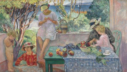 Henri Lebasque. Le goûter sur la terrasse à Sainte-Maxime (1914)