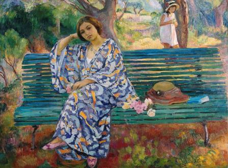Henri Lebasque. Sur le banc vert, Sanary (1911)