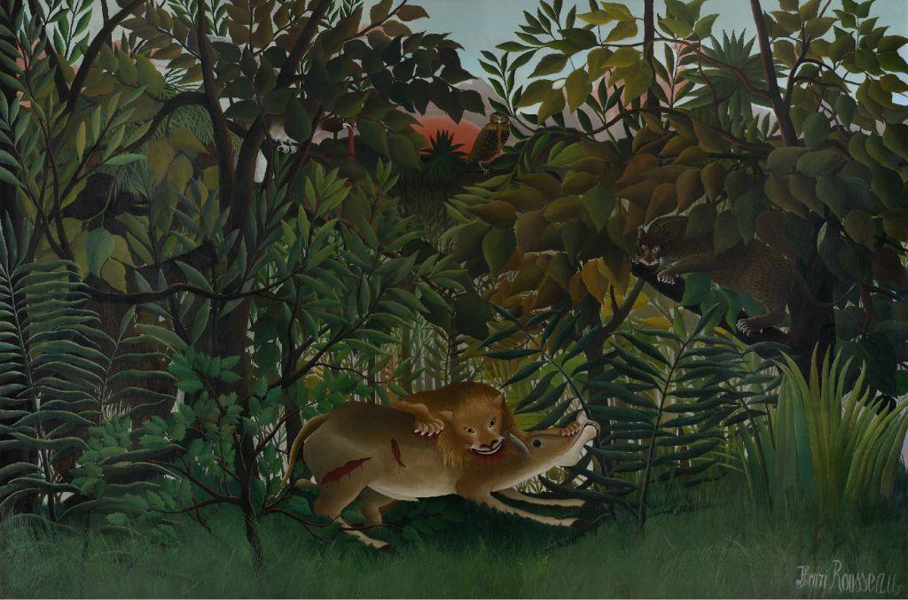 Ca s'est passé en septembre ! Henri-rousseau.-le-lion-ayant-faim-se-jette-sur-l-antilope-1898-1905-