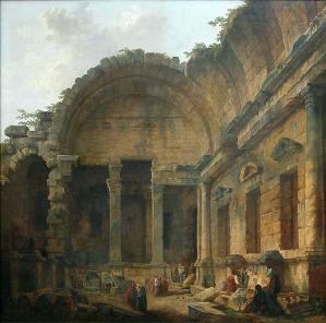 Hubert Robert. Intérieur du Temple de Diane à Nîmes (1786)