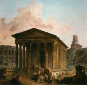 Hubert Robert. La Maison Carrée, les Arènes et la Tour Magne à Nîmes (1787)