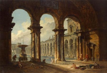 Hubert Robert. Ruines antiques utilisées comme bains publics (1798)