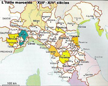 L'Italie morcelée du 14e siècle