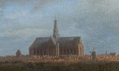 Jacob Van Ruisdael. Vue de Haarlem avec herberies, détail. L'église Saint-Bavon de Haarlem en 1670.