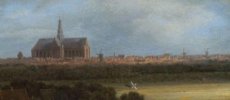 Jacob Van Ruisdael. Vue de Haarlem avec herberies, détail. Les moulins à vent.