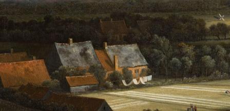 Jacob Van Ruisdael. Vue de Haarlem avec herberies, détail. Ombre et lumière.