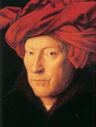 Jan Van Eyck. L'homme au turban rouge, autoportrait présumé,détail (1433)
