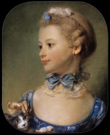 Jean-Baptiste Perronneau. La petite fille au chat (1747)