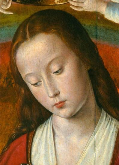 Jean Hey. Triptyque de Moulins, panneau central, détail 1 (1500-01)