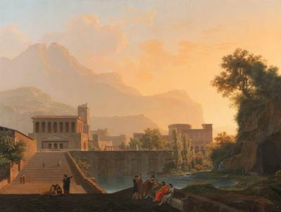 Jean-Pierre Péquignot. Paysage classique avec des bâtiments au coucher de soleil (v. 1800)