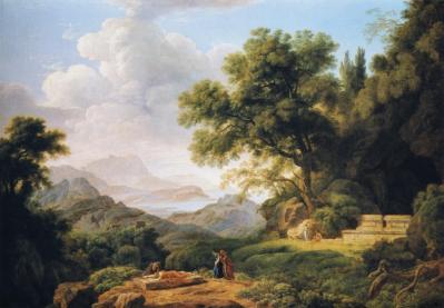 Jean-Pierre Péquignot. Paysage classique avec figures pleurant les cendres d'Ossian (1803)
