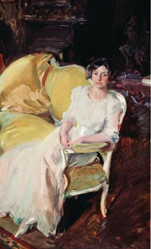 Joaquín Sorolla. Clotilde assise dans un canapé (1910)