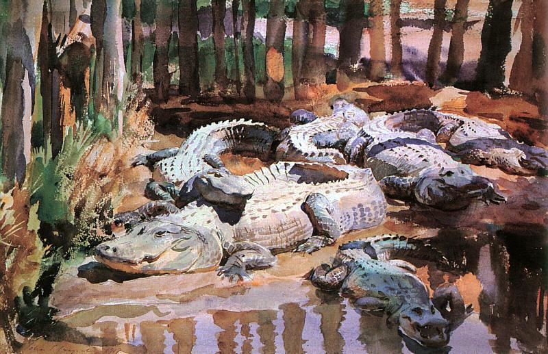 Ca s'est passé en avril ! John-singer-sargent-alligators-dans-la-boue-1917