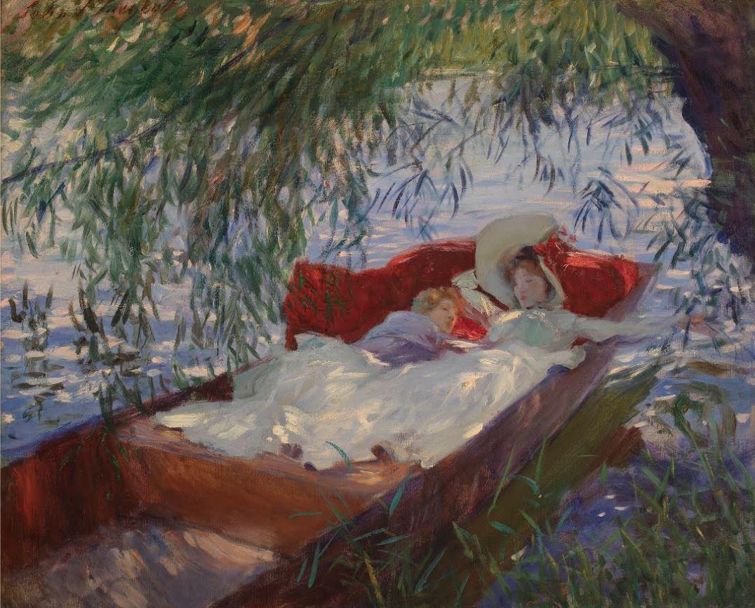 Ca s'est passé en avril ! John-singer-sargent-femme-et-enfant-endormis-dans-une-barque-sous-les-saules-v.-1887
