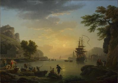 Joseph Vernet. Paysage au coucher du soleil (1773)