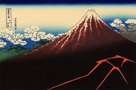 Katsushika Hokusai. Orage sous le sommet (v. 1830)