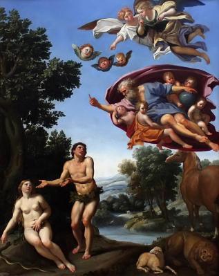 Le Dominiquin. Dieu réprimandant Adam et Ève (1623-25)