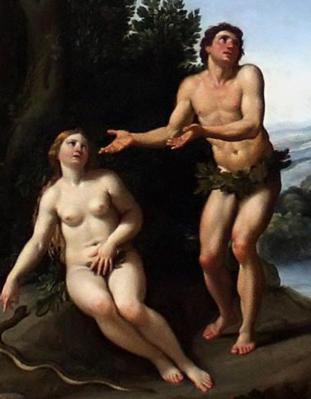 Le Dominiquin. Dieu réprimandant Adam et Ève, détail (1623-25)