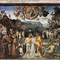 Le Pérugin. Chapelle Sixtine. Le baptême du Christ (v. 1482)