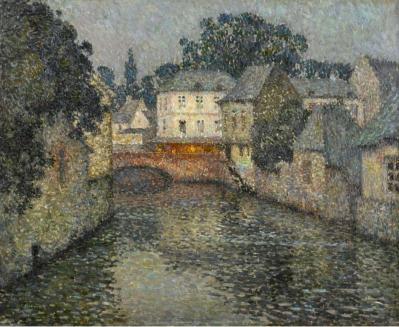 Henri Le Sidaner. Canal avec maison blanche, Harfleur (1915)