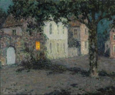 Henri Le Sidaner. Clair de lune sur une place à Cherbourg (v. 1934)