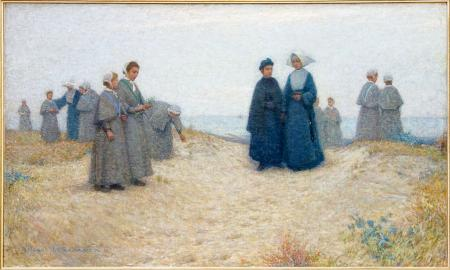 Henri Le Sidaner. La promenade des orphelines, Berck (1888)