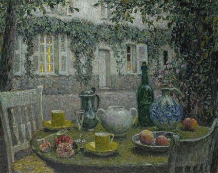 Henri Le Sidaner. La table de pierre au crépuscule (1917)