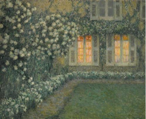 Henri Le Sidaner. Le jardin blanc au crépuscule (1924)