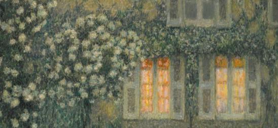 Henri Le Sidaner. Le jardin blanc au crépuscule, détail