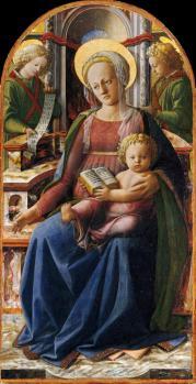 Triptyque de la Vierge à l'enfant avec deux anges (1437)