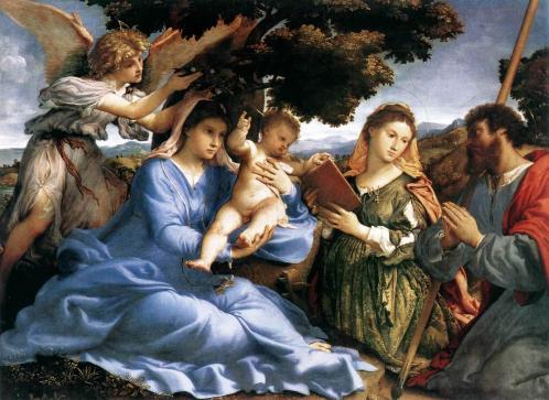 Lorenzo Lotto. Vierge à l'enfant avec sainte Catherine et saint Thomas (1527-28)