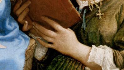 Lorenzo Lotto. Vierge à l'enfant avec sainte Catherine et saint Thomas, détail