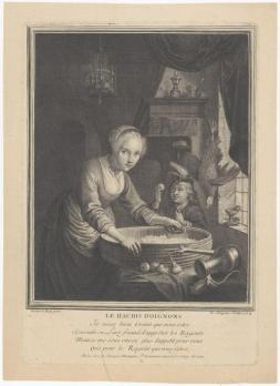 Louis Surugue. Jeune fille hachant des oignons (1724)