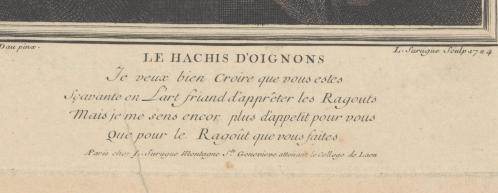 Louis Surugue. Jeune fille hachant des oignons, détail (1724)