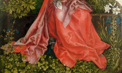Martin Schongauer. La Vierge au buisson de roses, copie, détail (1500-1550)