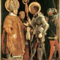 Matthias Grünewald. Rencontre de saint Érasme et saint Maurice (1520-25)