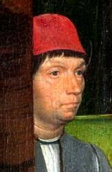 Memling. Autoportrait du retable John Donne de Kidwelly (v.1480)