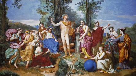 Raphaël Mengs. Apollon, Mnémosyne et les neuf muses (1760-61)