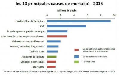Causes de mortalité mondiale en 2016
