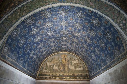 Mosaïque du Bon Pasteur et voûte (425-450), Ravenne