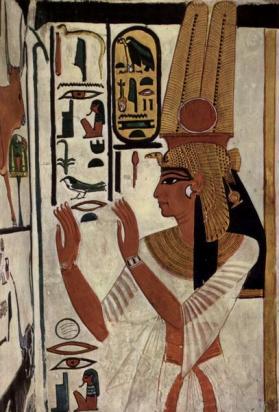 Néfertari sur la paroi de son tombeau (v -1250)