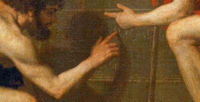 Nicolas Poussin. Les bergers d'Arcadie, détail